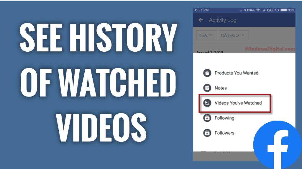 how to see history of watched videos on Facebook app