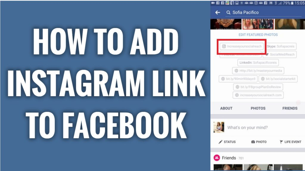 How to add instagram link to your Facebook profile on mobile