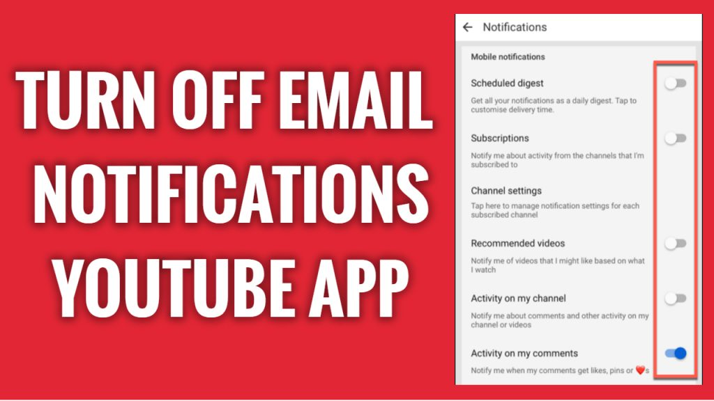 How to turn off YouTube email notifications on YouTube App
