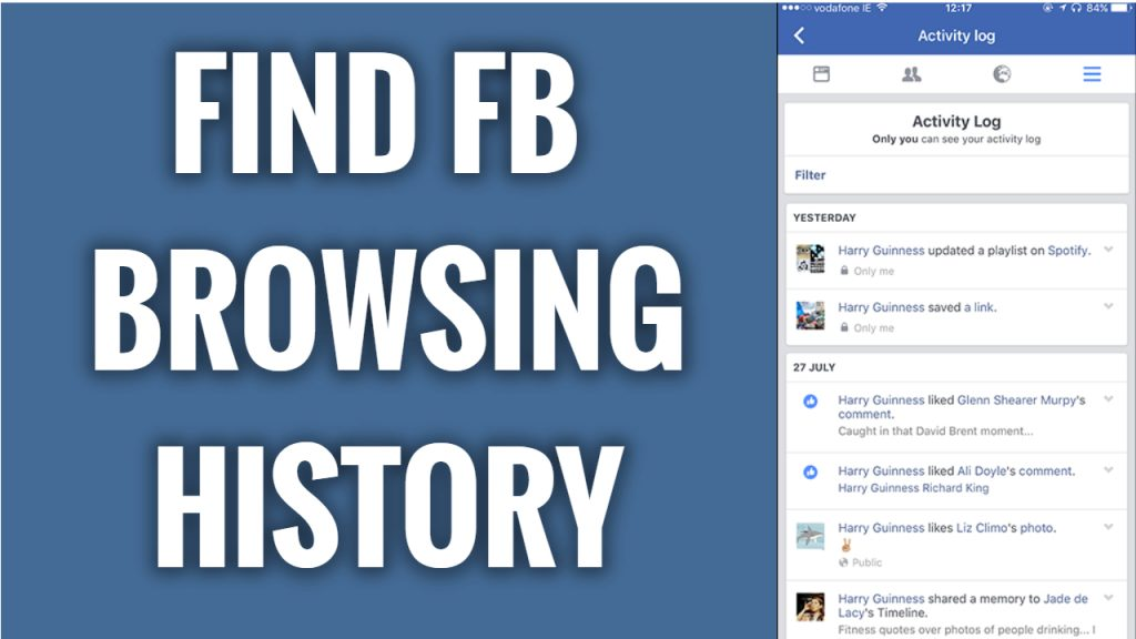 Where to find your browsing history on Facebook App