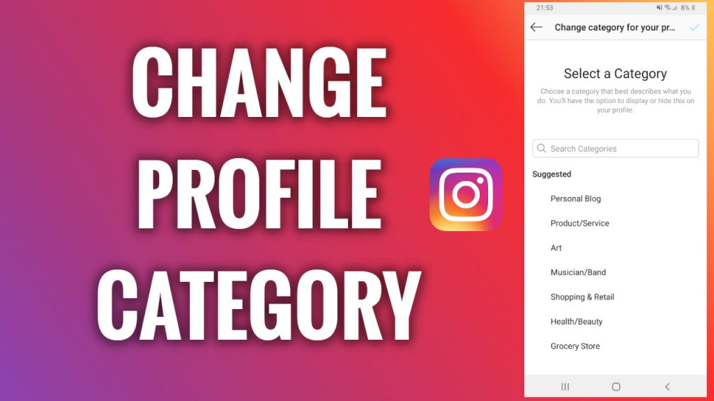 How to change the Instagram profile category