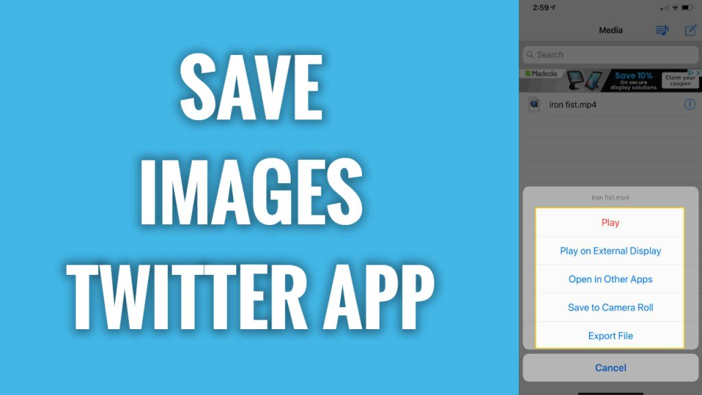 How to save images on Twitter App