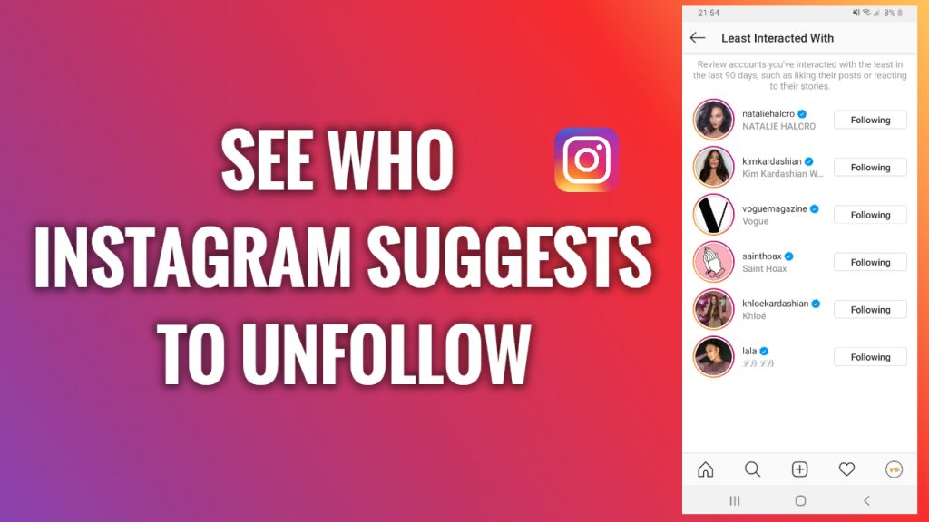 How to see who Instagram suggests you to unfollow