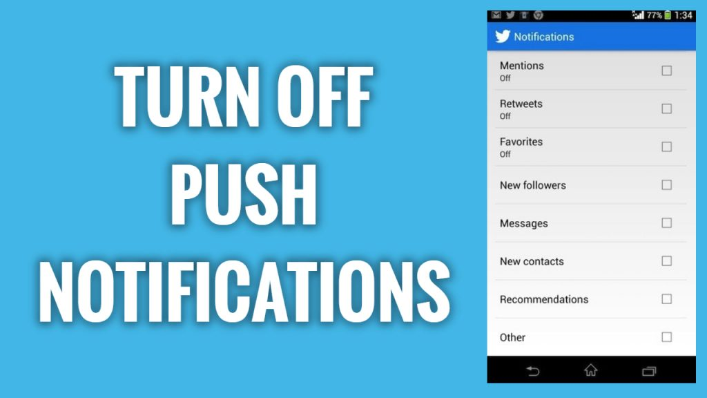 How to turn off push notifications on Twitter App