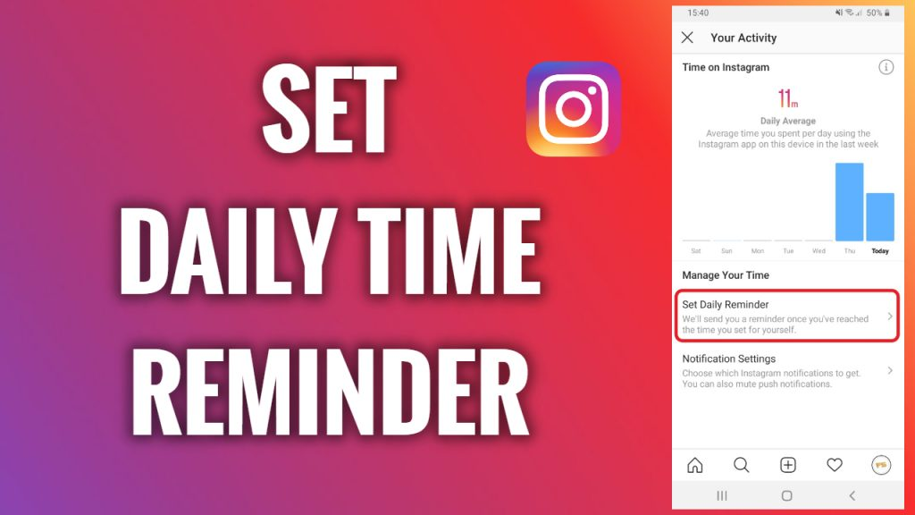 How to set a daily time reminder on Instagram