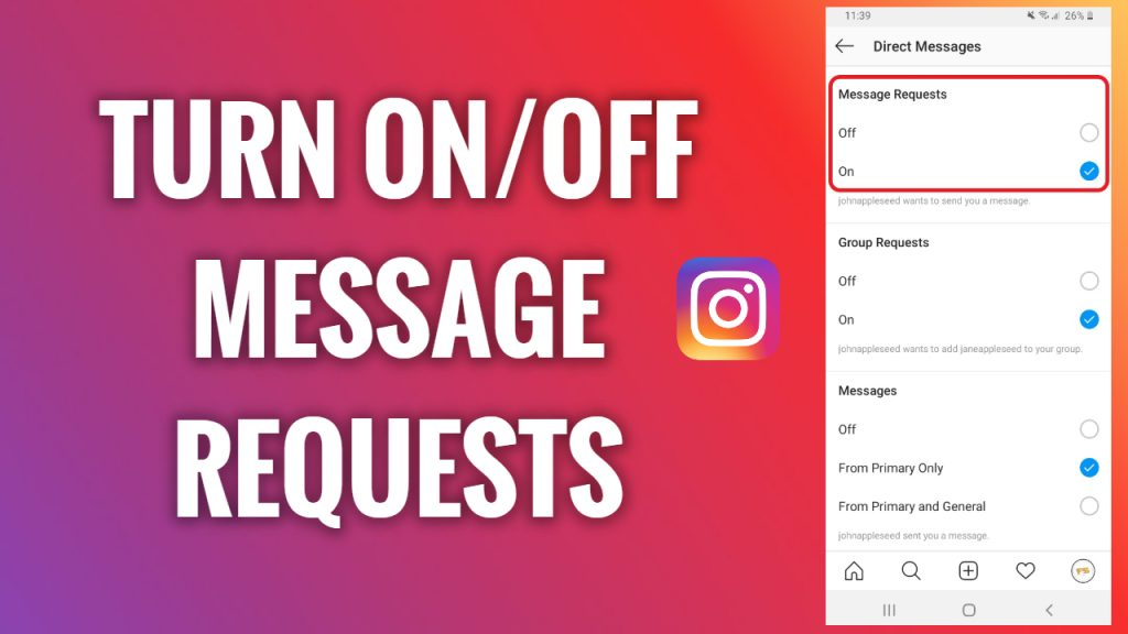 How to turn on and off Instagram message requests