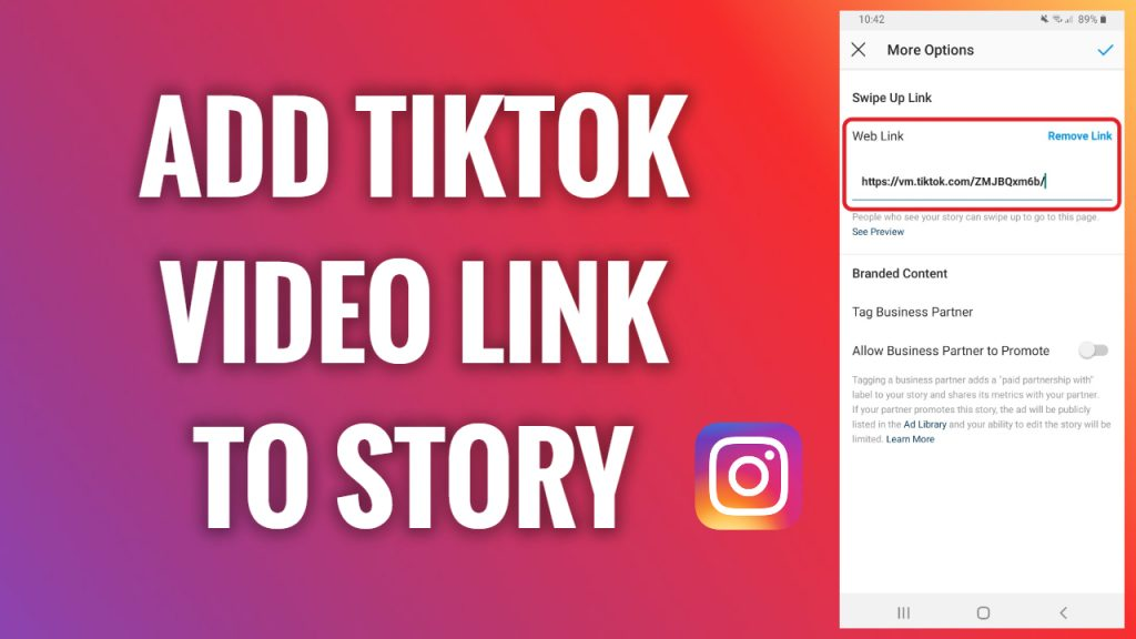 How to add a TikTok video link to an Instagram Story