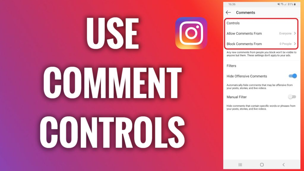 How to use a comment controls feature on Instagram