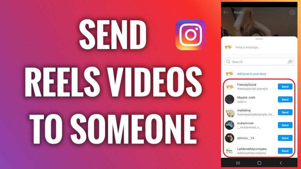 How to send an Instagram Reels video to someone