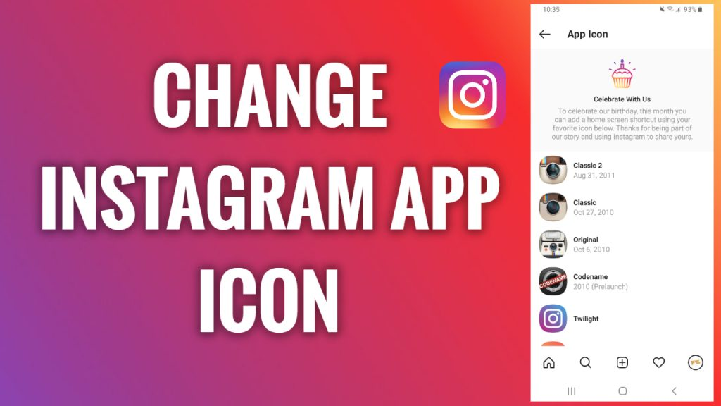 How to change an Instagram app icon